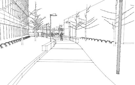 Grifols office plaza sketch